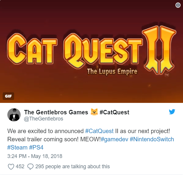 Cat Quest II: the Lupus Quest - Annonce tweet