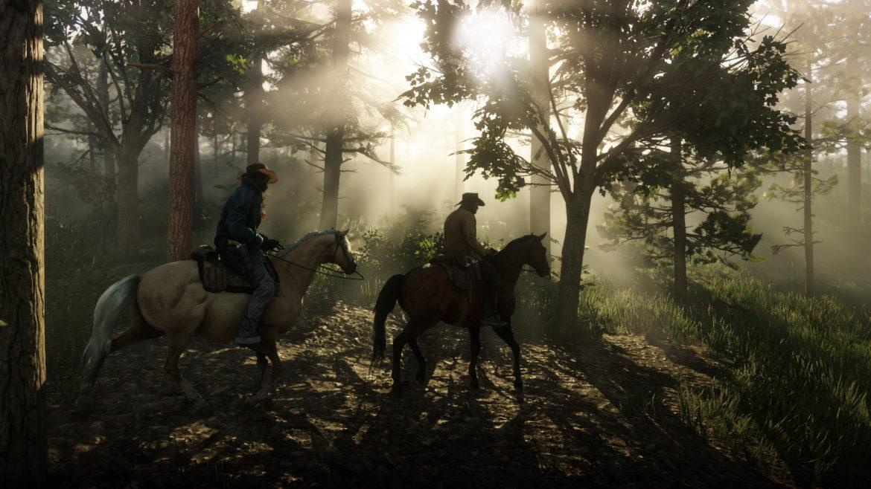 Red Dead Redemption II chevauchée dans les bois