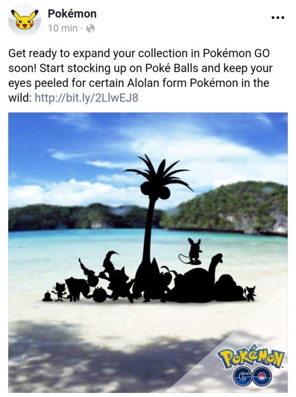 Pokémon GO - annonce Alolah Facebook