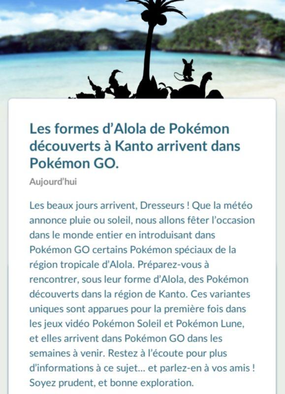Pokémon GO - annonce Alolah en jeu