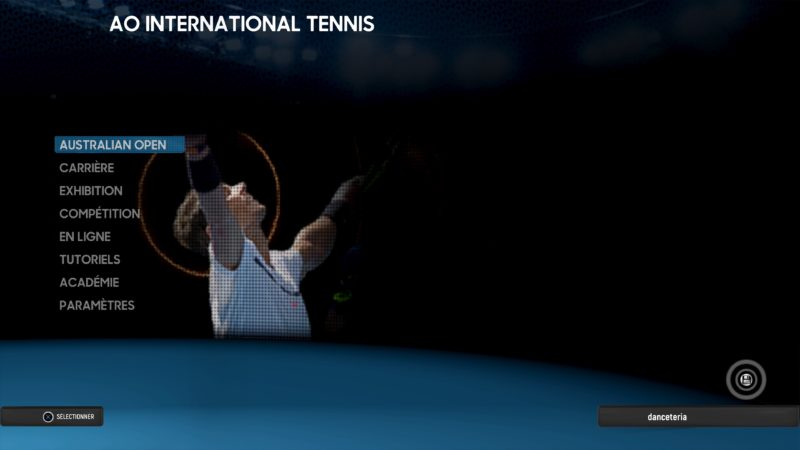 Test AO International Tennis - menu