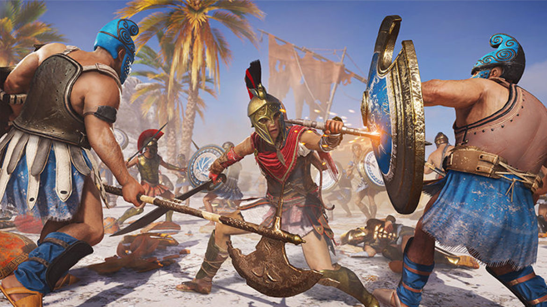 Assassin's Creed Odyssey Kassandra contre les schtroumpfs