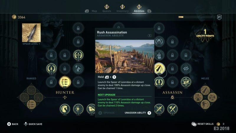 Assassins Creed Odyssey arbre de compétences
