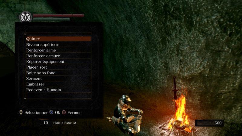 Dark Souls Remastered feu de camp