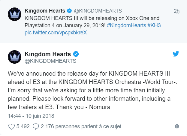 Kingdom Hearts III - Twitter