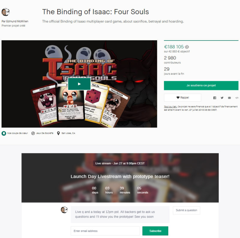 The Binding of Isaac: Four Souls Kickstarter