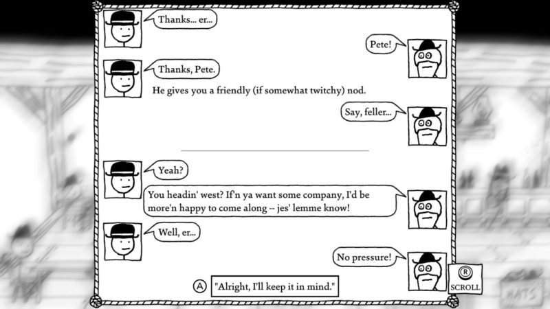 West of Loathing - le vieux Pete offre son aide