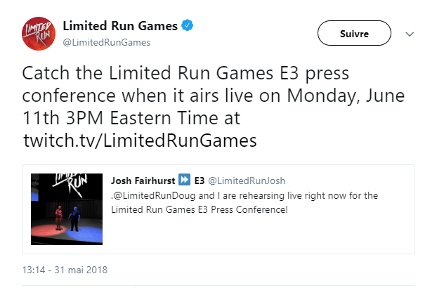 limited run games - conference presse e3