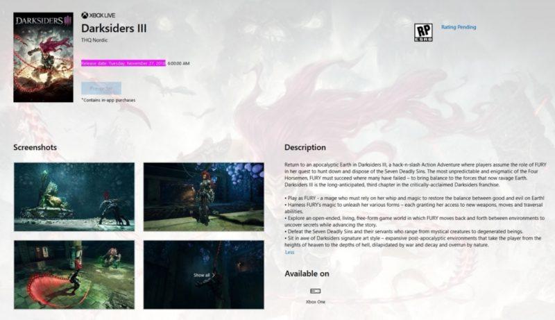 Darksiders 3 - Infos Microsoft Store