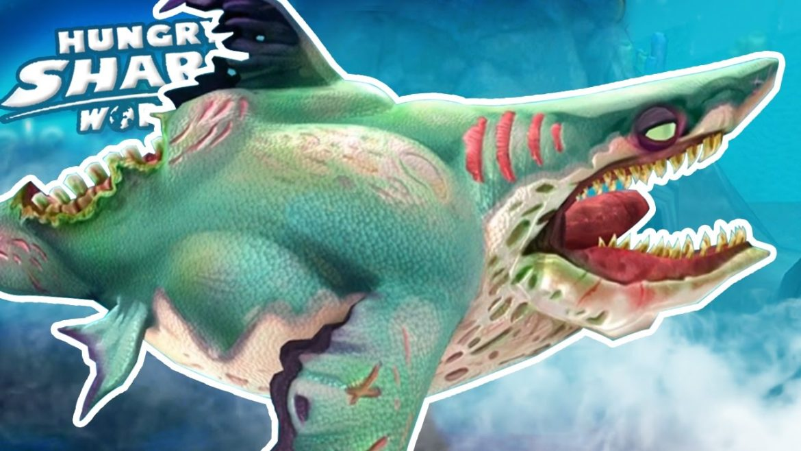 Hungry Shark World logo requin zombie