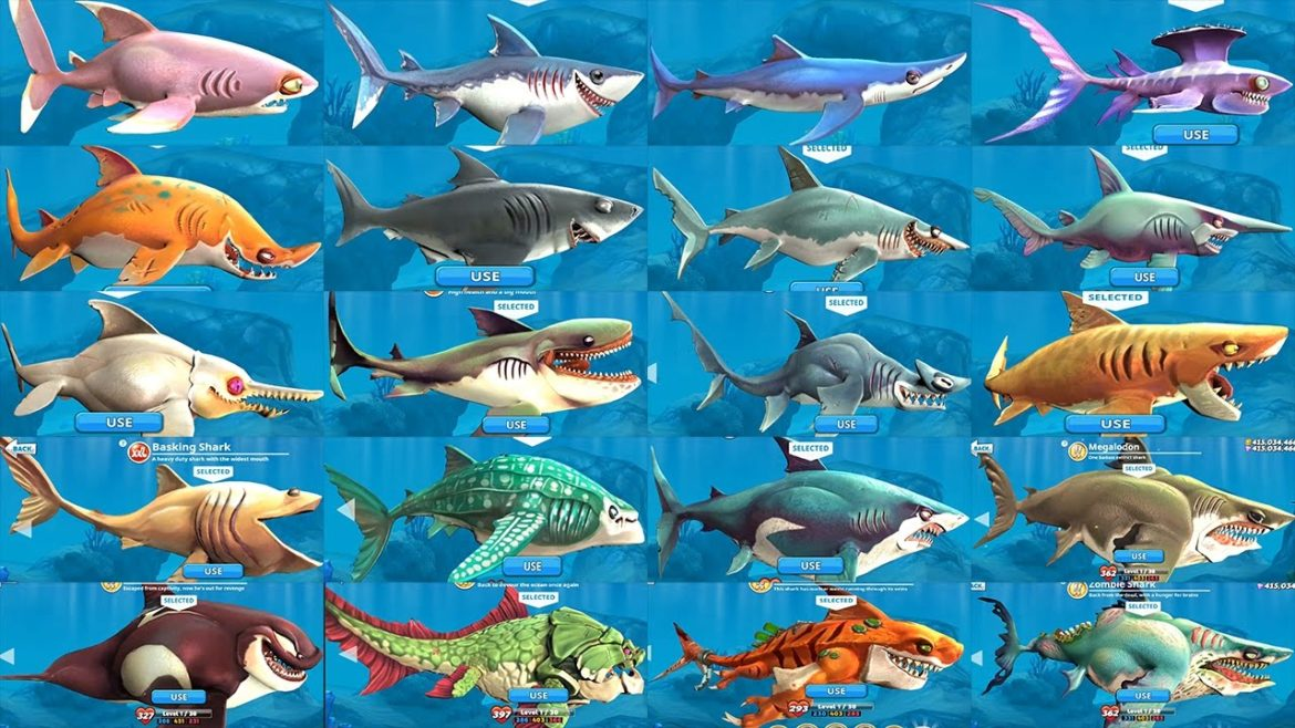 Hungry Shark World liste des requins