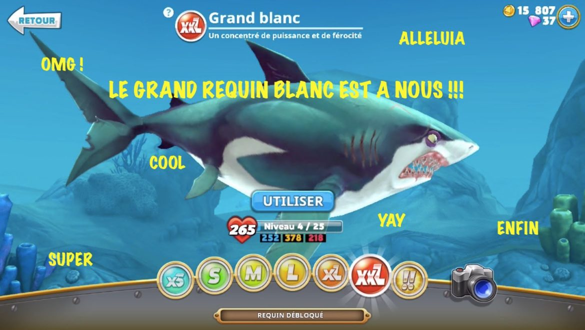 Hungry Shark World grand requin blanc