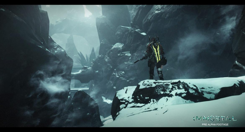 Immortal Unchained : Un homme dans un paysage montagnard recouvert de neige.