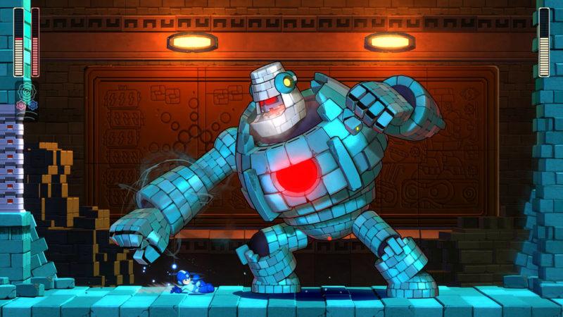 Mega Man 11 combat contre Block Man