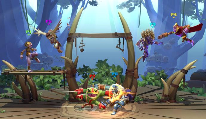 brawlout combat 4 joueurs décor marais