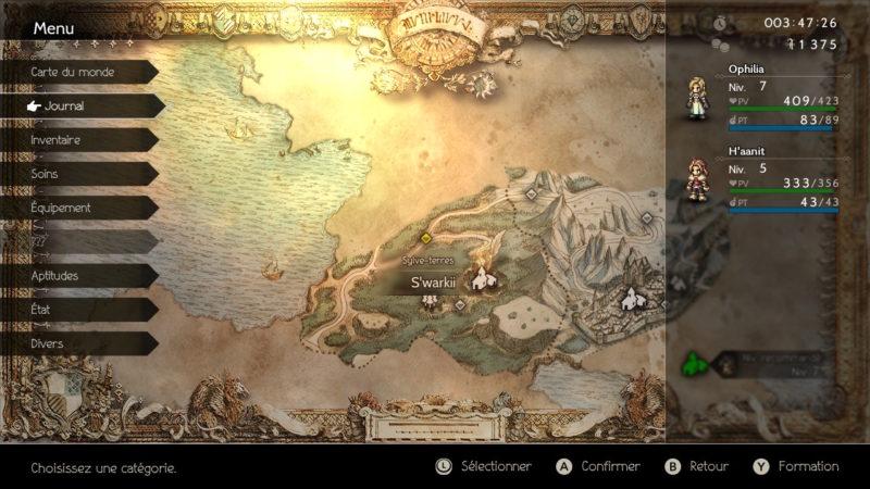 Test Octopath Traveler - carte du monde