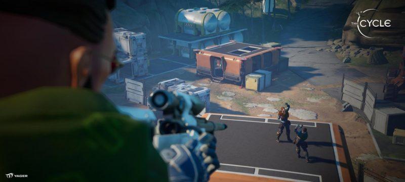 The Cycle : aperçu du mode de combat du jeu avec un homme utilisant une arme et deux autres au corps-à-corps