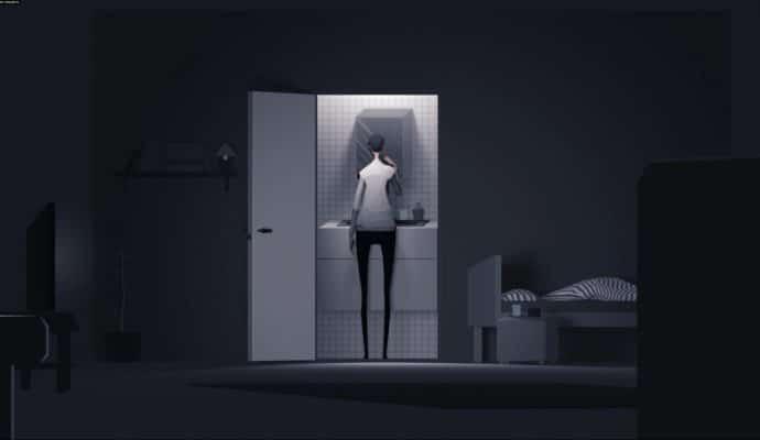 mosaic: personnage dans la salle de bain