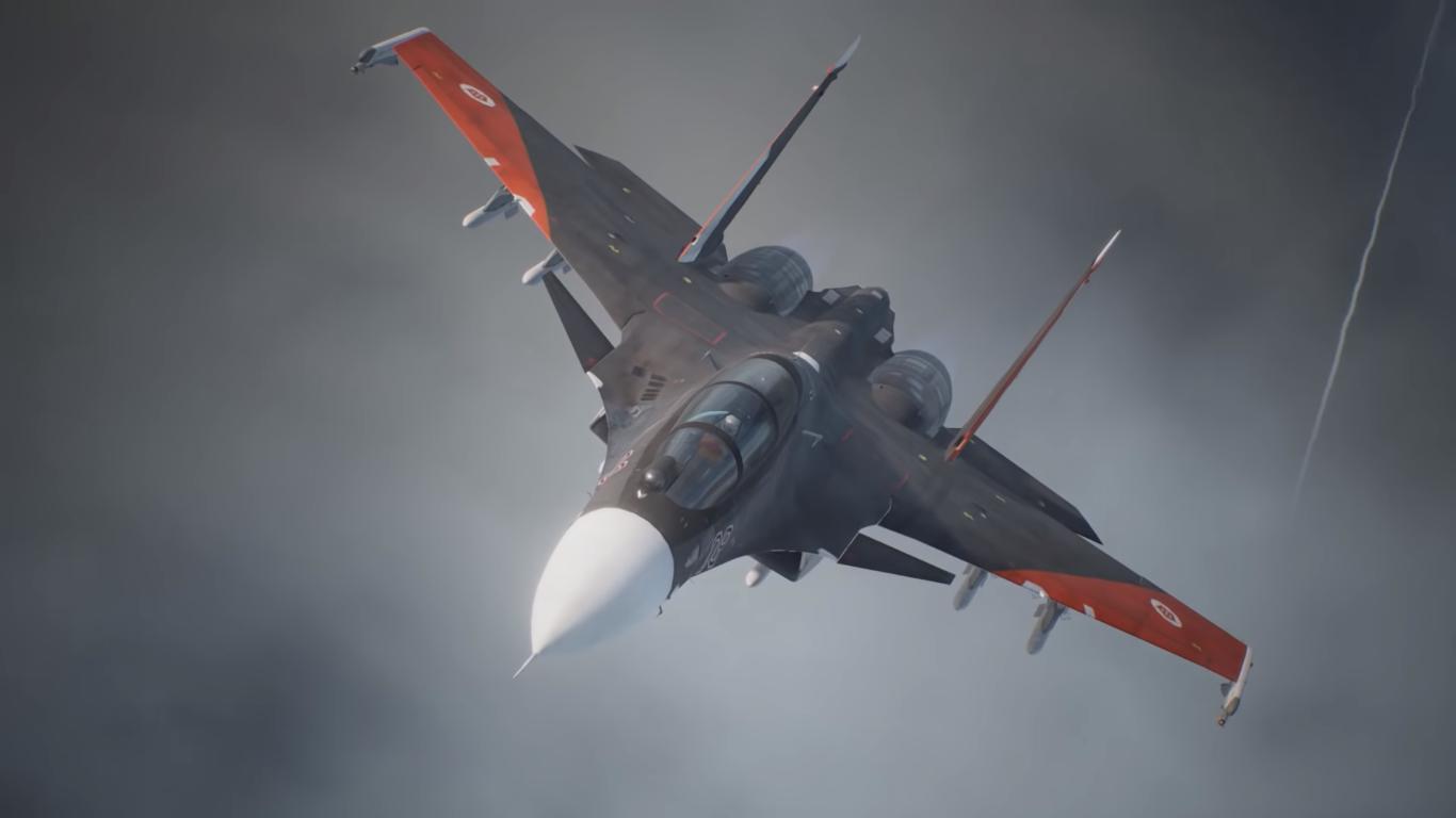 Ace Combat 7: Skies Unknown - avion noir aux ailes rouges