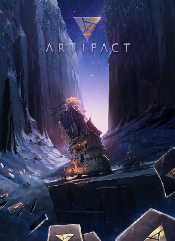 Artifact : paysage et maison avec deux personnages au premier plan