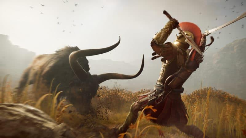 Assassin's Creed Odyssey spartiate taureau minotaure prairie