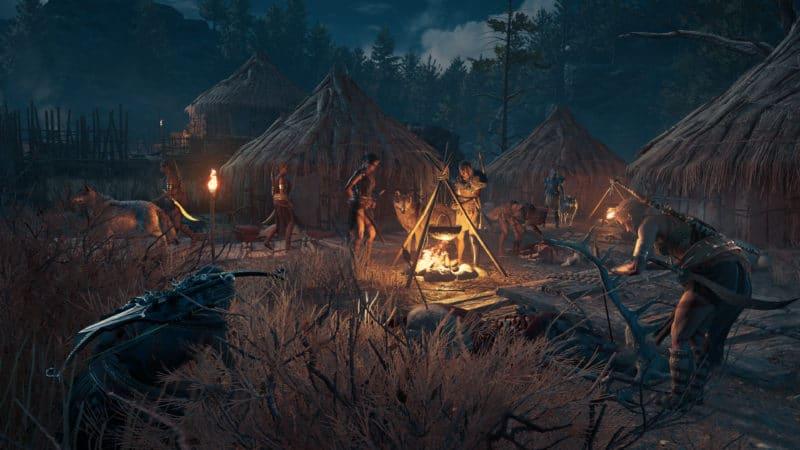 Assassin's Creed Odyssey feu de camp monstre nuit