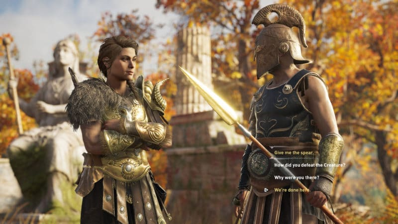 Assassin's Creed Odyssey Kassandra discussion statue