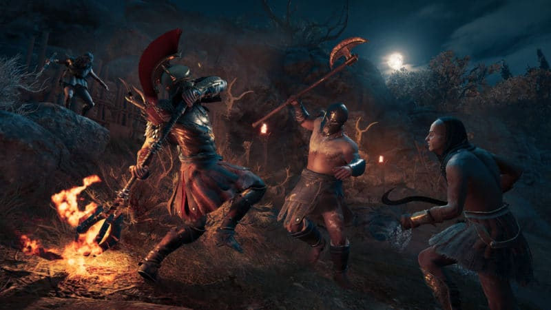 Assassin's Creed Odyssey bataille feu combattants