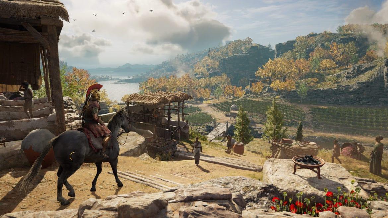 Assassin's Creed Odyssey chevauchée paysage forêt rivière