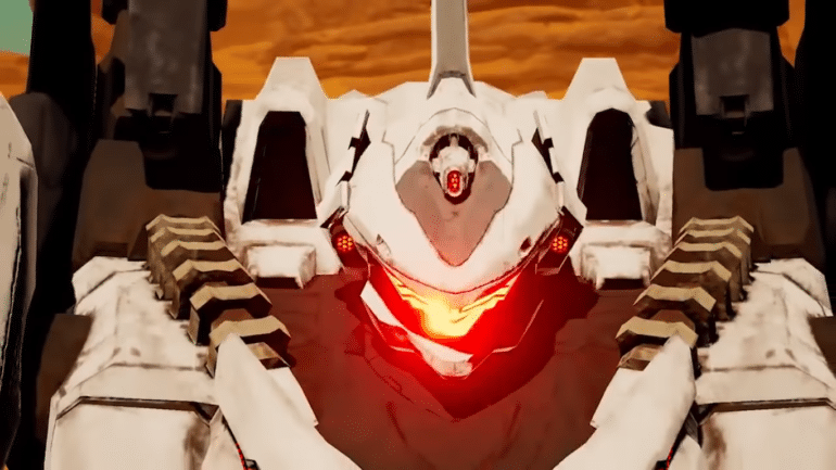 Daemon X Machina - plan rapproché mecha blanc