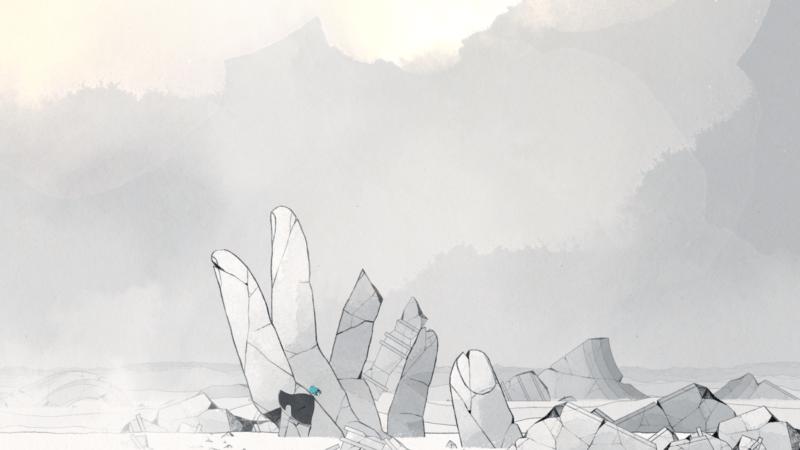 GRIS - main en pierre