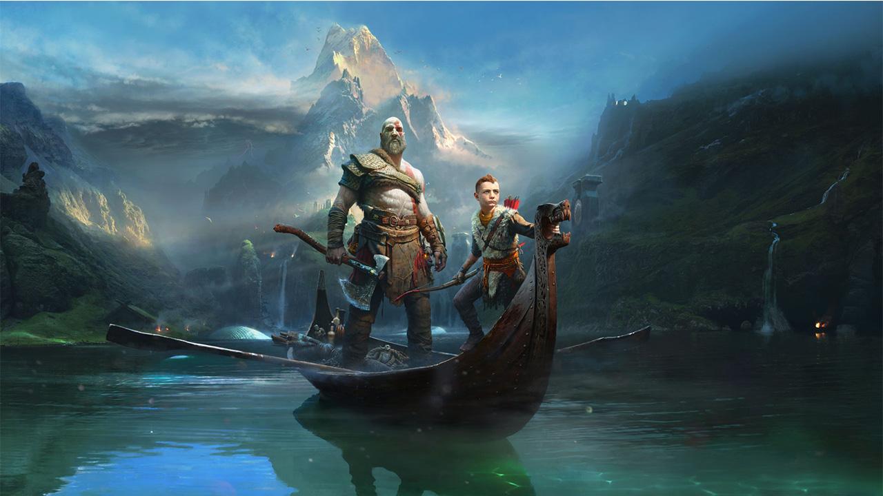 God of War Kratos et Atreus sont sur une bateau
