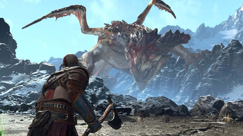 God of War Kratos et un dragon