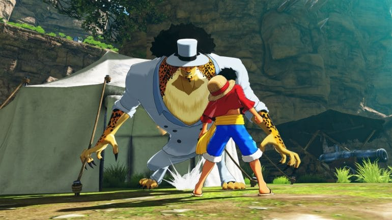 One Piece World Seeker Luffy Rob Lucci pose de combat