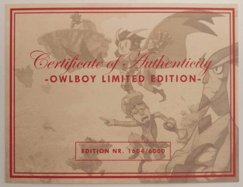 Owlboy Limited Edition - certificat authenticité