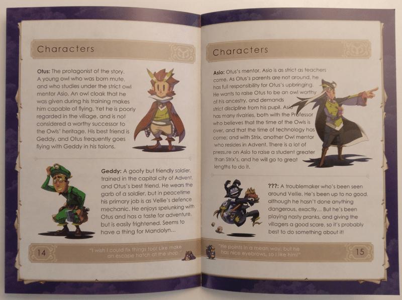 Owlboy Limited Edition - manuel détails personnages