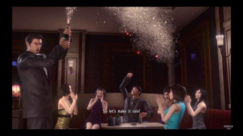 Yakuza Kiwami 2 Kiryu fait péter le champagne