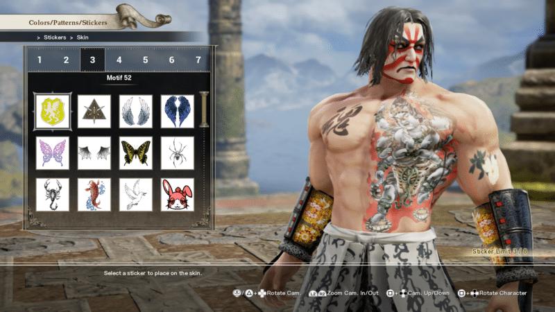 Soul Calibur VI création personnage tatouages
