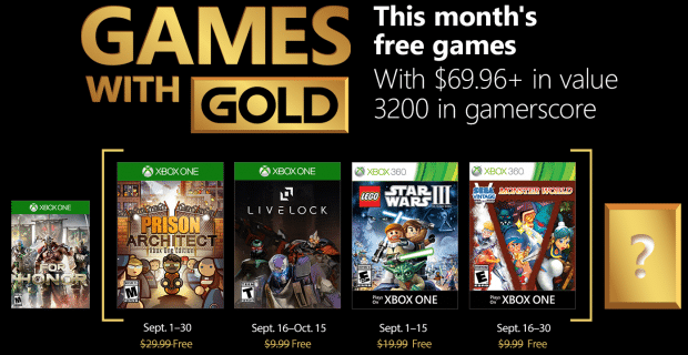 games with gold septembre 2018
