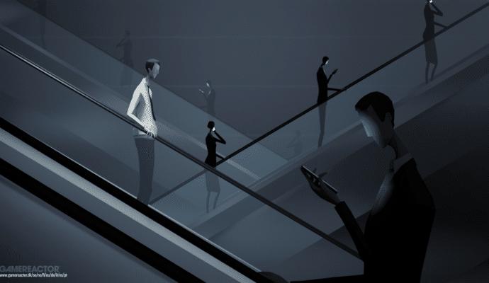 mosaic: personnage prend l'escalator