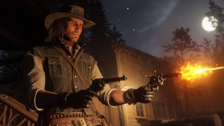 Red Dead Redemption 2 - John Marston et ses pistolets