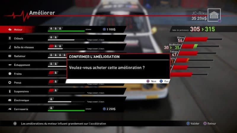 v-rally 4 achats mécaniques