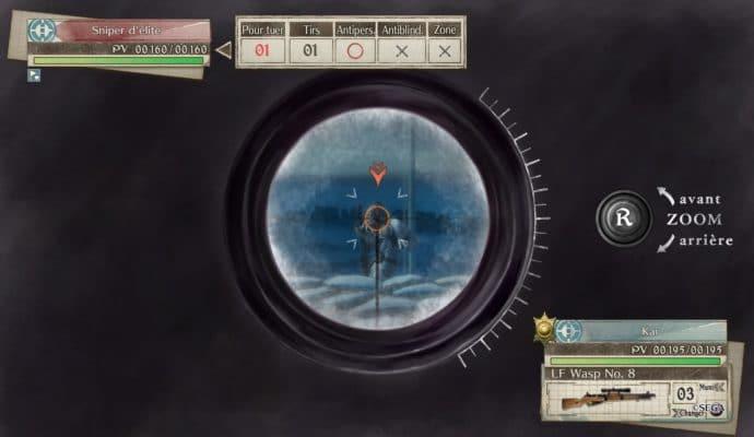 Valkyria Chronicles 4 visée sniper