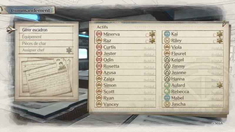Valkyria Chronicles 4 gestion d'escouade