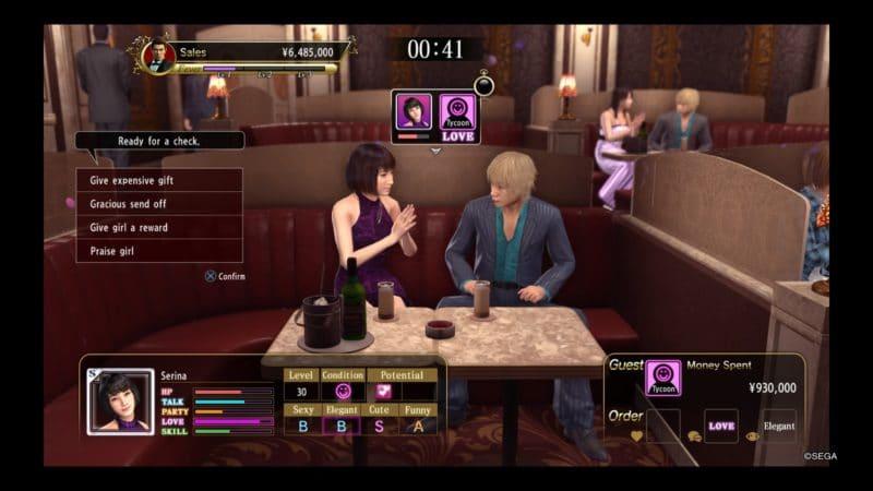 Yakuza Kiwami 2 hôtesse check out de luxe