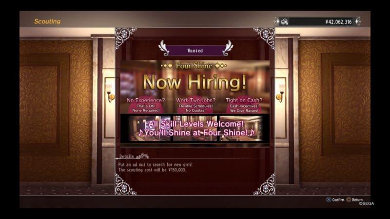 Yakuza Kiwami 2 Hôtesse recrutement