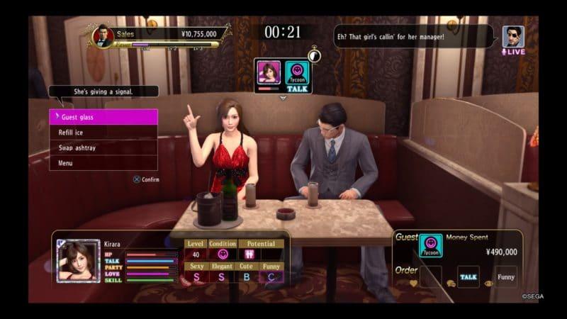 Yakuza Kiwami 2 hôtesse signe 4