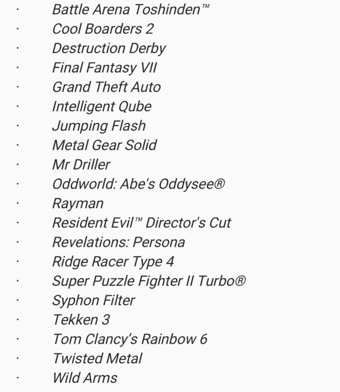 PlayStation Classic - Liste des jeux