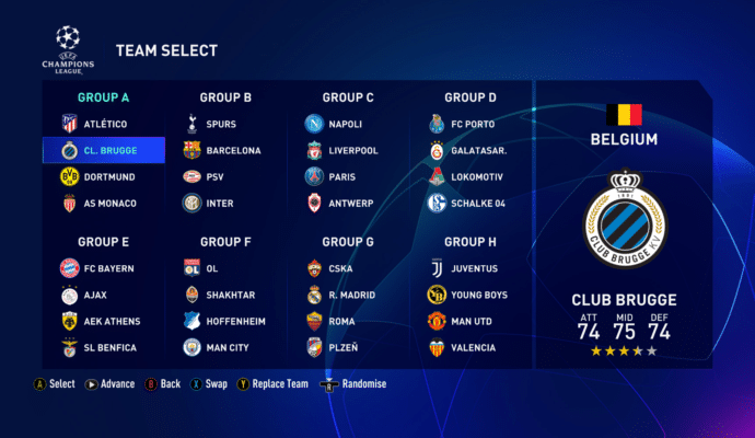 FIFA 19 - champions league bracket
