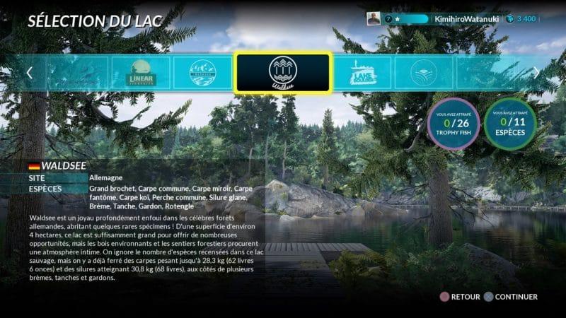 Fishing Sim World sélection de map
